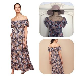 Jessica Simpson Maternity Floral Print Maxi Dress